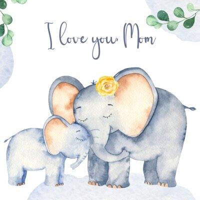 Plakat Watercolor card with cute cartoon Mother's Day elephants