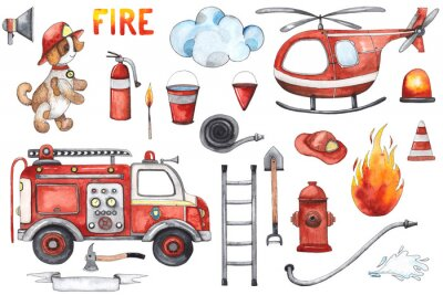 Plakat Watercolor cartoon cute set Firefighting and fire safety equipment illustration. Fire truck, helicopter, dog, helmet, hose, column, fire extinguisher. Baby shower red colorful clip art