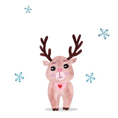 Plakat Watercolor christmas illustration with holiday deer