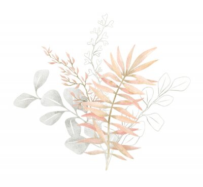Plakat Watercolor composition with plants and leaves in pastel pink color. Aesthetic gently bouquet in boho style with palm leaf, eucalyptus, foliage, nature element. Illustration for wedding, business card.