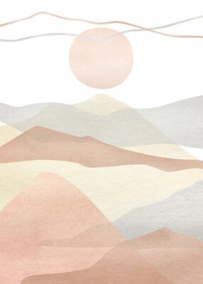 Plakat Watercolor creative minimalist hand painted landscape composition, mountains. Abstract modern print, poster, for wall decoration, card or brochure cover design. Aesthetic trendy illustration
