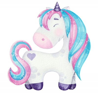 Plakat watercolor cute Unicorn illustrations  pink and blue isolated on white