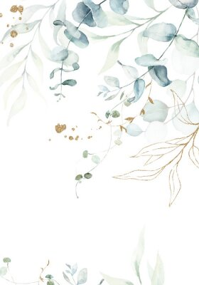 Plakat Watercolor floral illustration with gold branches - green leaf frame / border, for wedding stationary, greetings, wallpapers, fashion, background. Eucalyptus, olive, green leaves, etc.