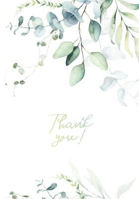Plakat Watercolor floral illustration with green branches & leaves - frame / border, for wedding stationary, greetings, wallpapers, fashion, background. Eucalyptus, olive, green leaves, etc.