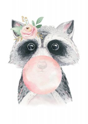 Plakat Watercolor forest cartoon isolated cute baby raccoon, animal with flowers. Nursery woodland illustration. Bohemian boho drawing for nursery poster, pattern