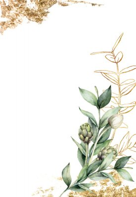 Plakat Watercolor golden card with linear branch and artichoke. Hand painted holiday card with green eucalyptus leaves and bud on white background. Spring illustration for design, print, fabric, background.