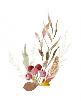 Plakat Watercolor hand painted composition - arrangement, bouquet. Soft gentle color palette.