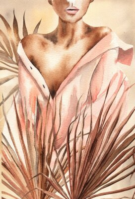 Plakat Watercolor illustration.  Beautiful woman or girl in a shirt with dry palm leaves.  African American, African.  Design for cards, paper, weddings, invitations, scrapbooking, poster, invitations