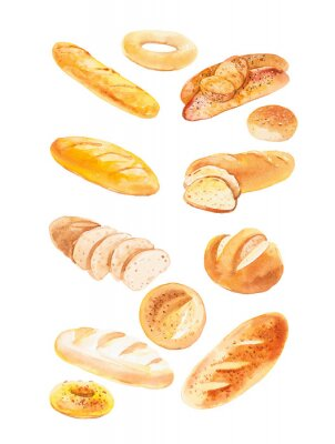Plakat Watercolor illustration of different buns and bread. Isolated on white background
