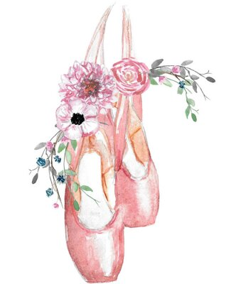 Plakat Watercolor illustration of pointe shoes with a floral arrangement