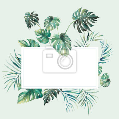 Plakat Watercolor jungle floral frame. Ready to use card design with exotic leaves and branches. Botanical label