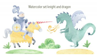 Plakat Watercolor knight and dragon duel