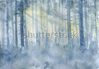 Plakat watercolor landscape with mist and trees trunks, cobweb morning, fog in a forest, hand drawn illustration, nature background