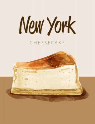 Plakat Watercolor paining in retro style of new york cheesecake.  Design for printing, postcard, menu, and others. Vector illustration.