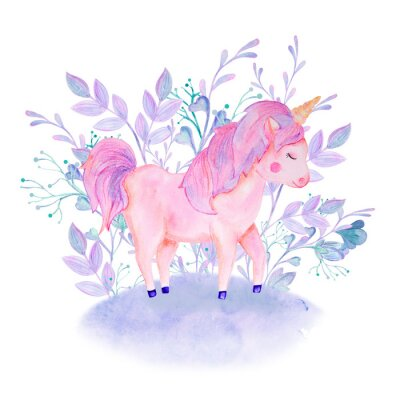 Plakat watercolor pink, lilac unicorn composition with flowers