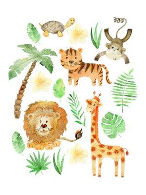 Plakat Watercolor safari arrangements.