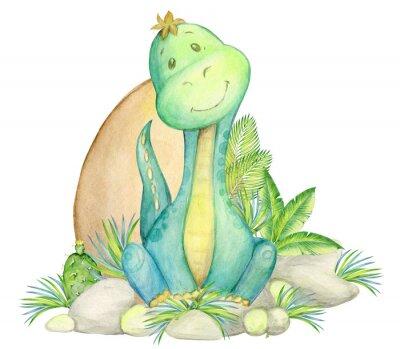 Plakat watercolor, seamless pattern. little dinosaur. isolated