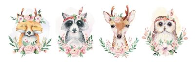 Plakat Watercolor set of forest cartoon isolated cute baby fox, deer, raccoon and owl animal with flowers. Nursery woodland illustration. Bohemian boho drawing for nursery poster, pattern