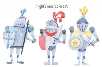Plakat Watercolor set of knights swords, shields, armor