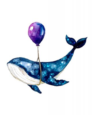 Plakat Watercolor sketch blue whale. Illustration isolated on white background for design,print or background. cosmic texture with balloon. Night starry sky with paint strokes and swashes