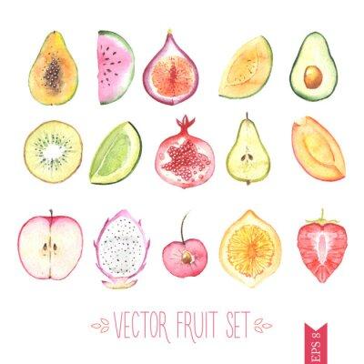 Plakat Watercolor vector fruit set