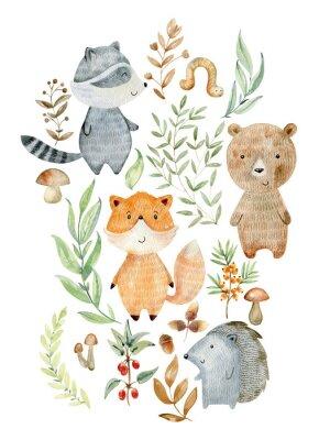 Plakat Watercolor woodland arrangements.