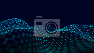 Wave with the connection of points and lines on a polygonal dark background. Futuristic abstract mesh.