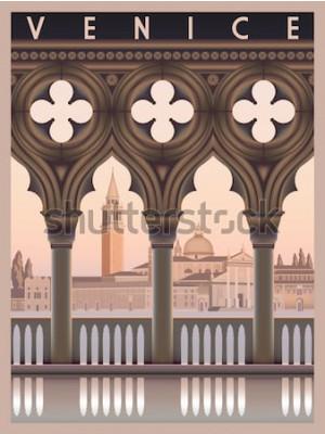 Plakat Wczesny poranek w Wenecja, Włochy. Szablon podróży lub pocztówki. Wszystkie budynki są różnymi obiektami. Ręcznie rysowane ilustracji wektorowych. Zabytkowy styl.