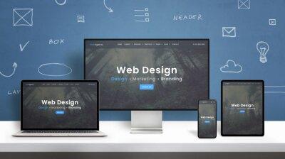 Plakat Web design studio web site responsive design presentation on computer display, laptop, smart phone and tablet. Blue wall with web design concept elements