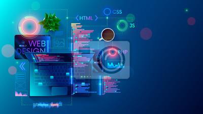 Plakat Web development, coding and programming responsive layout internet site or app of devices. Creation digital Software mobile, desktop platforms. Computer code on laptop, tablet, phone. Concept banner.