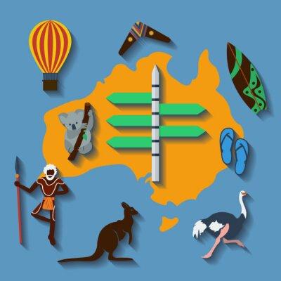 Plakat Wektor australia podróż płaski kolor