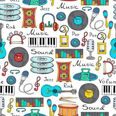 Plakat Wektor bez szwu z ręcznie rysowane symbole muzyki
