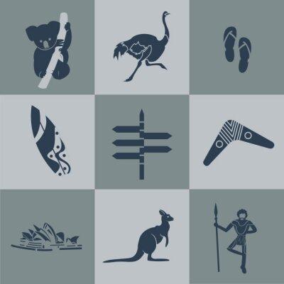 Plakat Wektor czarny australia płaskim podróży