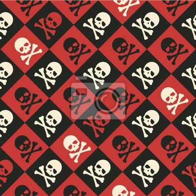 Plakat Wektor czaszki i piszczele szwu tła