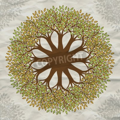 Plakat Wektor drzewo mandala tło z papieru grunge
