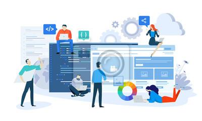 Plakat Wektor ilustracja koncepcja projektowania i rozwoju strony internetowej i aplikacji. Kreatywny projekt płaski dla banerów internetowych, materiałów marketingowych, prezentacji biznesowych, reklam onli