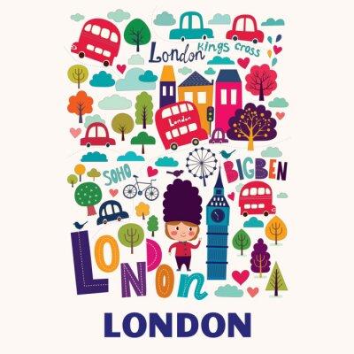 Plakat Wektor kolorowy wzór z symboli Londynu