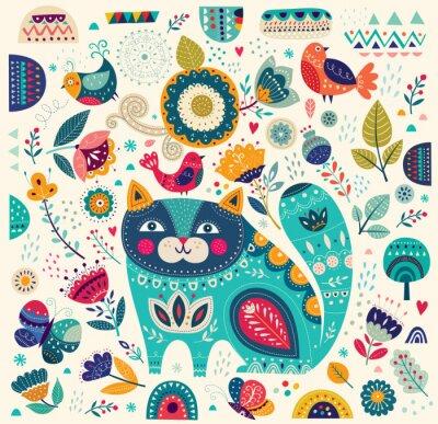 Plakat Wektor kolorowych ilustracji z pięknych kotów, ptaków, motyli i kwiatów