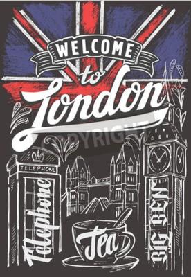 Plakat Wektor kreda Wielkiej Brytanii flaga i londyn