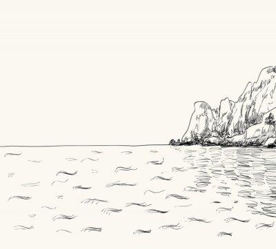 Plakat Wektor latem krajobraz szkic. Nadmorskich i górskich