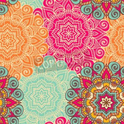 Plakat Wektor Mandala. Okrągły ornament w stylu etnicznym. Rysowania