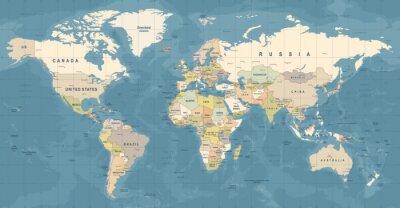 Plakat Wektor mapy świata. Szczegółowa ilustracja mapy świata