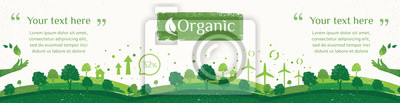 Plakat Wektor natury, ekologii, organicznych, banery środowiska. Billboard lub baner internetowy Czyste zielone środowisko w stylu grunge