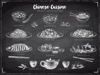 Plakat Wektor ręcznie rysowane ilustracji z chińskim jedzeniem.