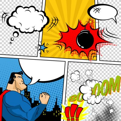 Plakat Wektor Retro Comic Book Speech Bubbles ilustracji.