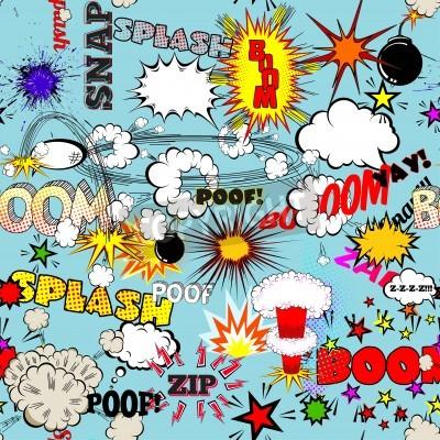 Plakat Wektor Retro Seamless Pattern z Comic Speech Bubbles, etykiet, logo i komiksu Words