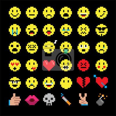 Wektor sztuki pikseli buziek emotikon ustawiony reprezentują różne emocje