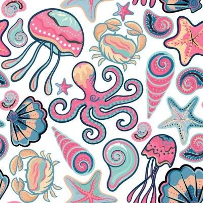 Plakat Wektor wyciągnąć rękę szwu z meduzy, muszle, rozgwiazdy, ośmiornice i kraby. Morze w tle