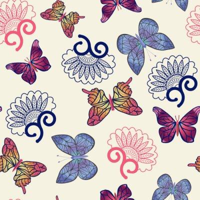 Plakat Wektor wzór motyle.