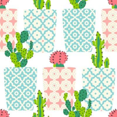 Plakat Wektor wzór z kaktusów. Śliczne kwiaty kaktus w doniczkach ozdobnych. Strony rysunku ilustracji.